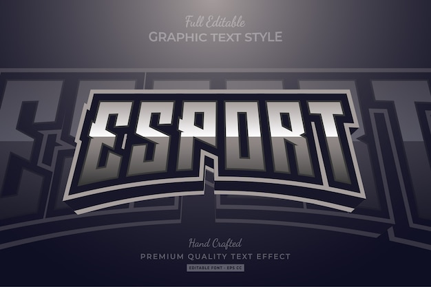 Esport silver editable premium text style effect