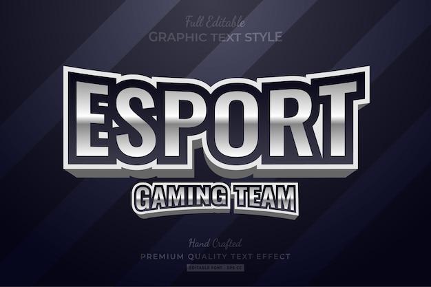 Esport silver text effect edytowalny styl czcionki premium