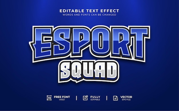 Esport squad edytowalny efekt tekstowy