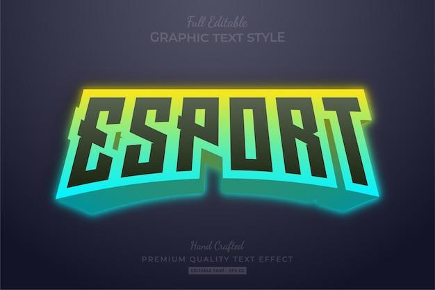 Esport team gradient edytowalny styl czcionki efektu tekstowego