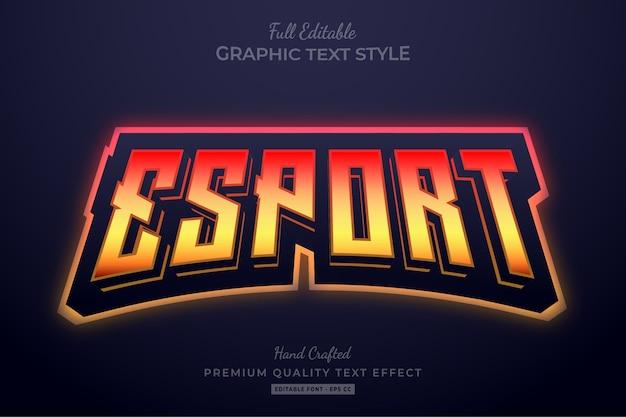 Esport team gradient flame edytowalny styl czcionki efektu tekstowego