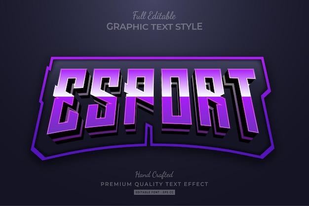 Esport team purple edytowalny styl czcionki z efektem tekstowym