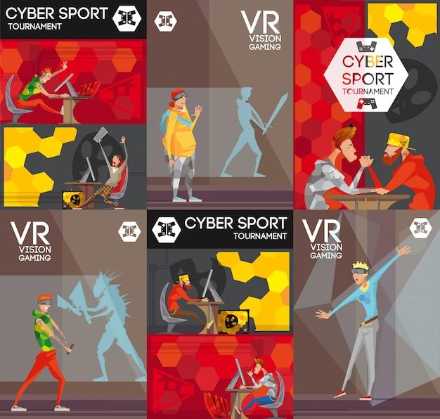 Esport vr konkurencyjne gry wideo 6 płaskich kolorowych banerów