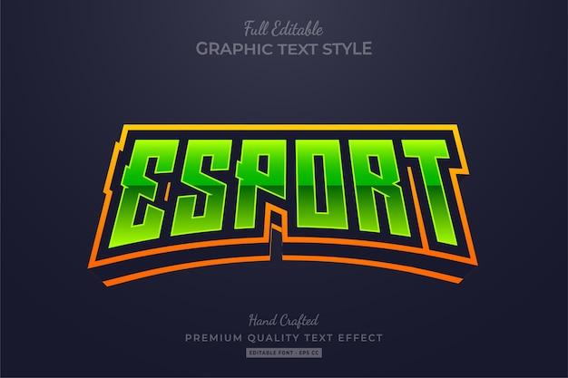 Esport, zielony, żółty, edytowalny efekt stylu tekstu premium