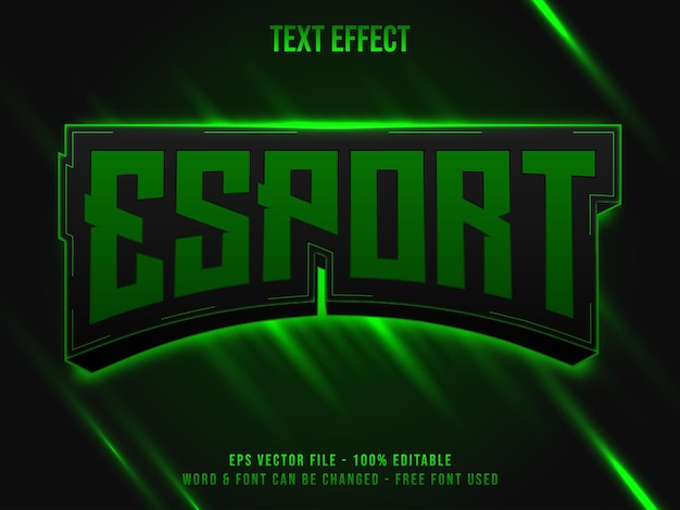 Esportowy styl efektu tekstowego zielonego światła edytowalny efekt tekstowy