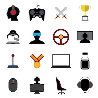 Esports płaskie ikony