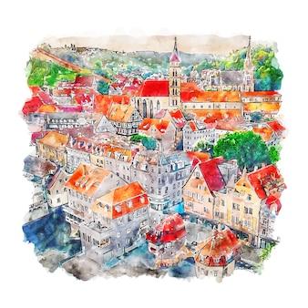 Esslingen niemcy szkic akwarela ręcznie rysowane ilustracji