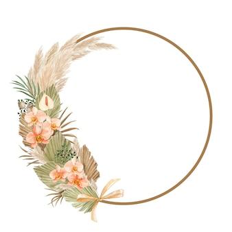 Estetyczna artystyczna ramka z liśćmi i kwiatem pampasu
