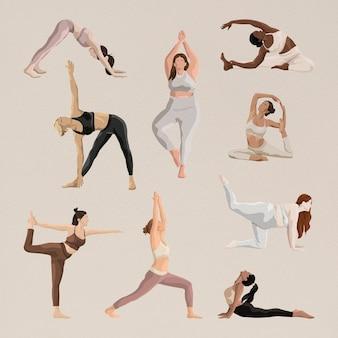 Estetyczna joga pozuje wektor z zestawem ilustracji dotyczących zdrowia i ciała