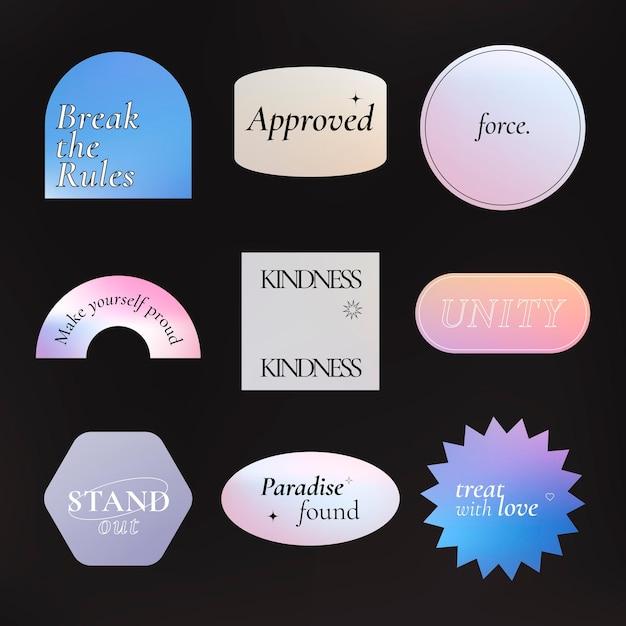 Estetyczna naklejka słowna, holograficzny pastelowy gradientowy zestaw wektorów clipart