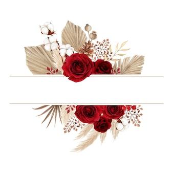 Estetyczna ramka w stylu boho z czerwoną różą i suchymi liśćmi