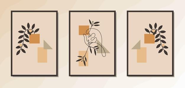 Estetyczne minimalistyczne plakaty ścienne przedstawiające elegancki portret kobiety z geometrycznymi kształtami