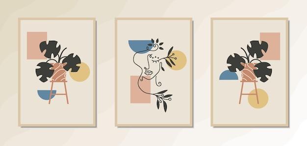Estetyczne nowoczesne plakaty ścienne z pięknym portretem kobiety i geometrycznym kształtem