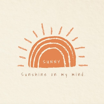 Estetyczne odznaki z motywami świątecznymi ze słoneczną typografią ilustrującą słońce w mojej głowie