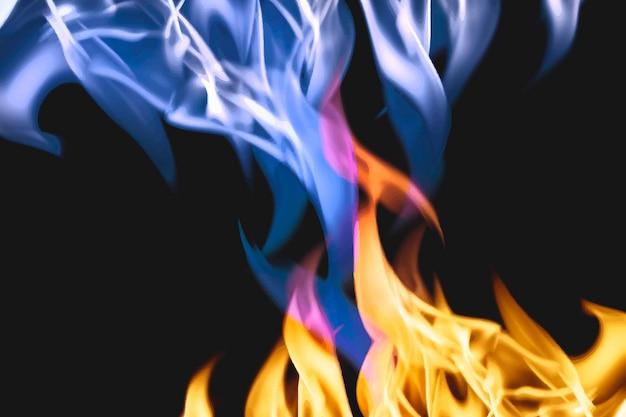Estetyczne tło płomienia, płonący niebieski ogień wektor