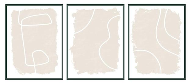 Estetyczne współczesne szablony z organicznymi abstrakcyjnymi kształtami i linią w nagich kolorach pastelowe tło boho w minimalistycznym stylu z połowy wieku ilustracja