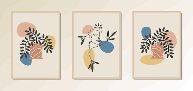 Estetyczny artystyczny plakat ścienny z elegancką grafiką kobiecą o organicznych i kwiatowych kształtach