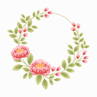 Estetyczny botaniczny wieniec kwiatowy na wystrój zaproszenia ślubne