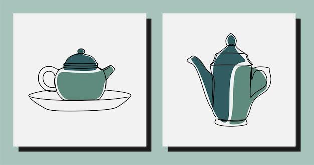 Estetyczny czajniczek jednoliniowy, ciągły wektor premium sztuki
