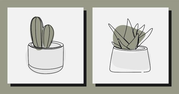 Estetyczny kaktus roślinny jednoliniowy wektor premium z linii ciągłej