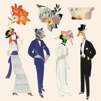 Estetyczny kolaż cyfrowy zestaw elementów wektorowych, do druku sztuka kolażu vintage