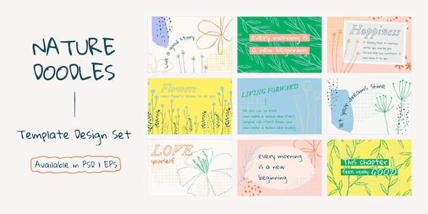 Estetyczny kwiatowy baner szablon wektor z pozytywnym zestawem cytatów