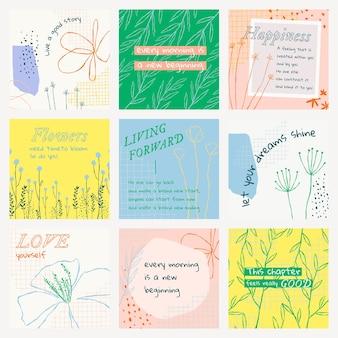 Estetyczny kwiatowy edytowalny szablon wektorowy post w mediach społecznościowych z inspirującym cytatem