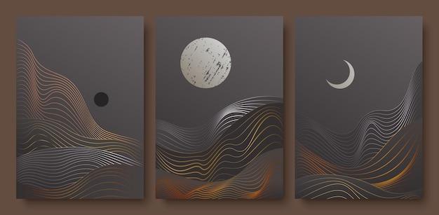 Estetyczny nocny krajobraz z modną dekoracją ścienną w kształcie księżyca