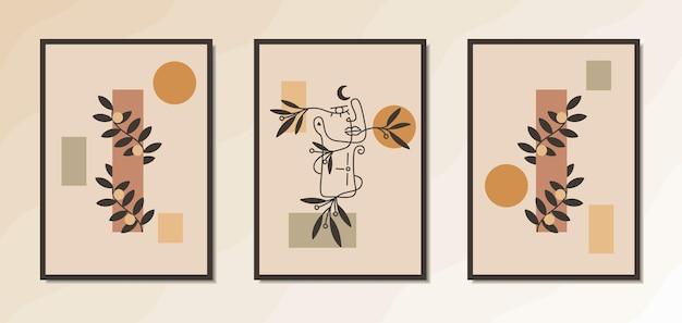 Estetyczny nowoczesny plakat ścienny z połowy wieku z elegancką grafiką kobiecą o abstrakcyjnym geometrycznym kształcie