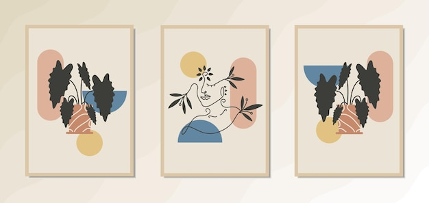Estetyczny plakat na ścianę w stylu vintage przedstawiający piękną kobietę z abstrakcyjnymi geometrycznymi kształtami