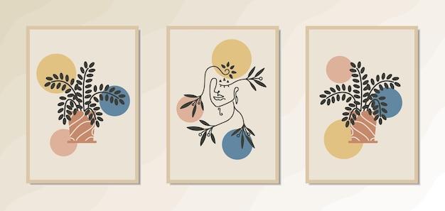 Estetyczny plakat ścienny boho z portretem eleganckiej kobiety linii sztuki geometryczne i kwiatowe kształty