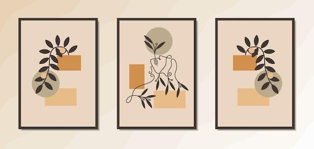 Estetyczny plakat ścienny do wnętrza eleganckiej kobiety z geometrycznymi i kwiatowymi kształtami