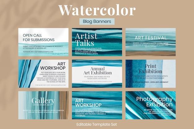 Estetyczny szablon akwareli ombre wektor estetyczny baner blogowy zestaw reklam zgodny z eps