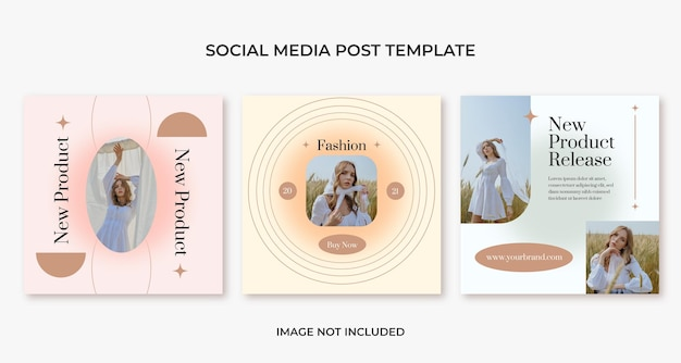 Estetyczny szablon postu w mediach społecznościowych z modą urody