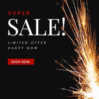 Estetyczny szablon sprzedaży, realistyczny obraz płomienia dla wektora reklamy biznesowej