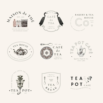 Estetyczny wektor szablonu odznaki dla zestawu kawiarni, zremiksowany z dzieł z domeny publicznej