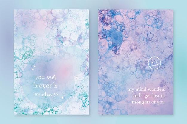 Estetyczny wektor szablonu sztuki bąbelkowej z podwójnym zestawem plakatów z cytatem miłosnym