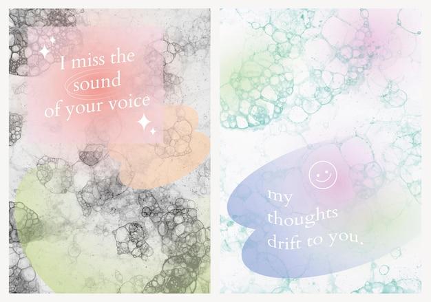 Estetyczny wektor szablonu sztuki bąbelkowej z romantycznym cytatem plakat podwójny zestaw