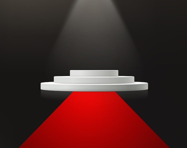 Etap ceremonii wręczenia nagród z czerwonym dywanie.
