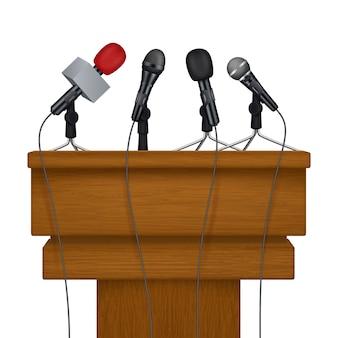 Etap konferencji prasowej. spotkania z mediami mikrofony realistyczne zdjęcia