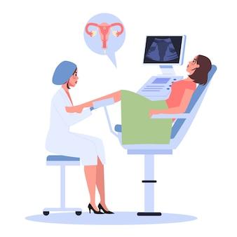 Etap zapłodnienia in vitro. lekarz umieszczający zarodek w macicy kobiety. sztuczna ciąża przy pomocy nowoczesnej technologii.