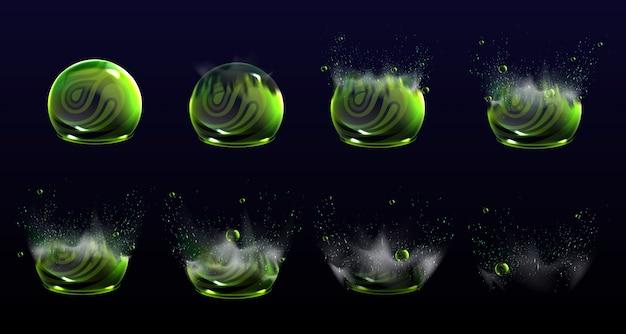 Etapy animacji eksplozji pękniętych tarcz bąbelkowych, kule sił lub pola obronne wybuchają. elementy do projektowania ruchu, deflektor science fiction, ochrona firewall, realistyczny zestaw 3d