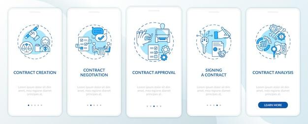 Etapy cyklu życia umowy wprowadzające ekran strony aplikacji mobilnej z koncepcjami. kontrakt przygotowujący kroki przejścia. ilustracje szablonów interfejsu użytkownika