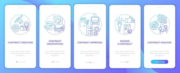 Etapy cyklu życia umowy wprowadzające zestaw ekranów stron aplikacji mobilnej