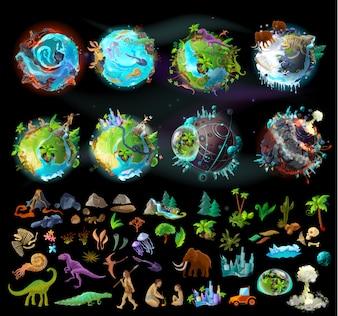 Etapy ewolucji Ziemi, tworzenie kreskówek z różnych kolorowych ikon, roślin i zwierząt