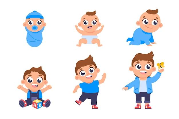 Etapy płaska konstrukcja chłopca