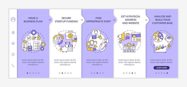 Etapy procesu uruchamiania startowego — onboarding vector template. responsywna strona mobilna z ikonami. przewodnik po stronie internetowej 5 ekranów krokowych. koncepcja koloru biznesowego z ilustracjami liniowymi