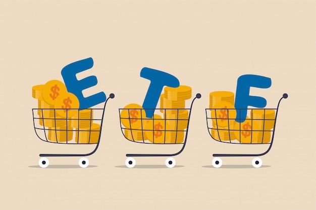 Etf, fundusze inwestycyjne giełdowe w czasie rzeczywistym, które śledzą obrót indeksami inwestycyjnymi w koncepcji rynku akcji, koszykach lub wózku pełnym monet dolarowych z alfabetem, łącząc słowo etf