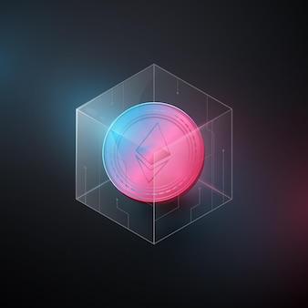 Ethereum, moneta kryptowaluty eth w blockchain. ilustracja wektorowa