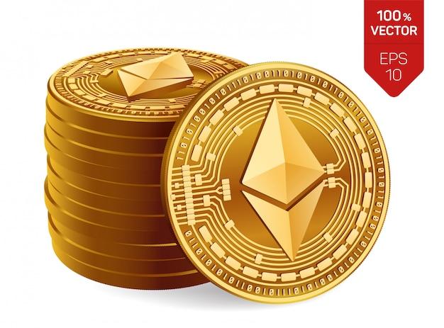 Ethereum. sterta złote monety z ethereum odizolowywającym. kryptowaluta.